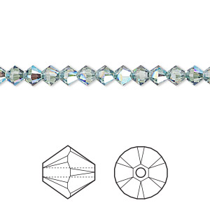 bead, swarovski crystals, erinite shimmer, 4mm xilion bicone (5328). sold per pkg of 1,440 (10 gross).