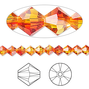 bead, swarovski crystals, fireopal, 5mm xilion bicone (5328). sold per pkg of 144 (1 gross).