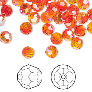 bead, swarovski crystals, fireopal ab, 6mm faceted round (5000). sold per pkg of 360.