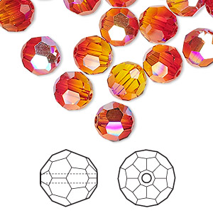 bead, swarovski crystals, fireopal ab, 8mm faceted round (5000). sold per pkg of 144 (1 gross).