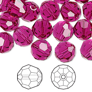 bead, swarovski crystals, fuchsia, 10mm faceted round (5000). sold per pkg of 144 (1 gross).