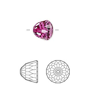 bead, swarovski crystals, fuchsia, 10x8mm faceted dome small (5542). sold per pkg of 96.