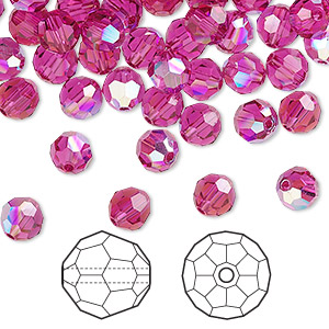 bead, swarovski crystals, fuchsia ab, 6mm faceted round (5000). sold per pkg of 360.