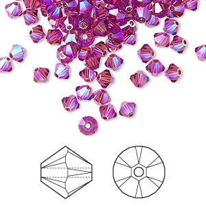 bead, swarovski crystals, fuchsia ab2x, 4mm xilion bicone (5328). sold per pkg of 1,440 (10 gross).