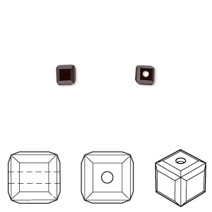 bead, swarovski crystals, garnet, 4x4mm faceted cube (5601). sold per pkg of 288 (2 gross).