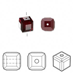 bead, swarovski crystals, garnet, 8x8mm faceted cube (5601). sold per pkg of 48.