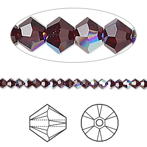 bead, swarovski crystals, garnet ab, 3mm xilion bicone (5328). sold per pkg of 48.