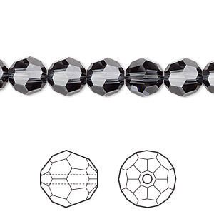 bead, swarovski crystals, graphite, 8mm faceted round (5000). sold per pkg of 288 (2 gross).