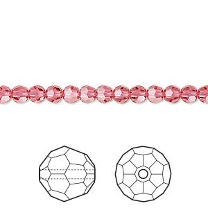 bead, swarovski crystals, indian pink, 4mm faceted round (5000). sold per pkg of 12.