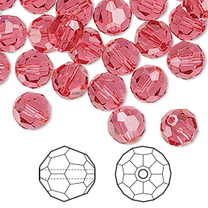 bead, swarovski crystals, indian pink, 8mm faceted round (5000). sold per pkg of 144 (1 gross).