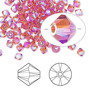 bead, swarovski crystals, indian pink ab2x, 4mm xilion bicone (5328). sold per pkg of 1,440 (10 gross).