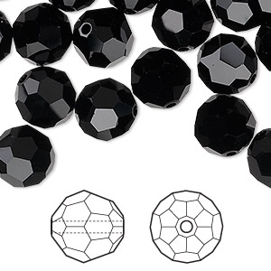 bead, swarovski crystals, jet, 10mm faceted round (5000). sold per pkg of 144 (1 gross).