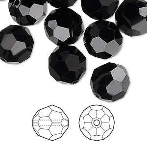 bead, swarovski crystals, jet, 12mm faceted round (5000). sold per pkg of 72.