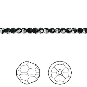 bead, swarovski crystals, jet, 3mm faceted round (5000). sold per pkg of 12.