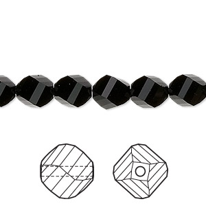 bead, swarovski crystals, jet, 8mm faceted helix (5020). sold per pkg of 288 (2 gross).