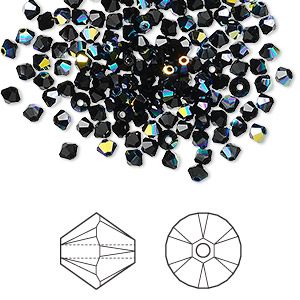 bead, swarovski crystals, jet ab, 3mm xilion bicone (5328). sold per pkg of 1,440 (10 gross).