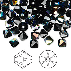 bead, swarovski crystals, jet ab, 6mm xilion bicone (5328). sold per pkg of 360.