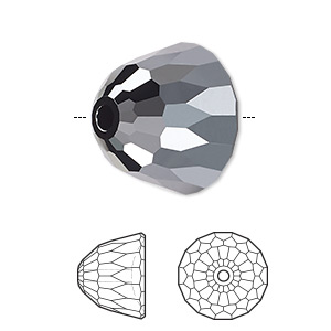 bead, swarovski crystals, jet hematite, 10x8mm faceted dome small (5542). sold per pkg of 96.
