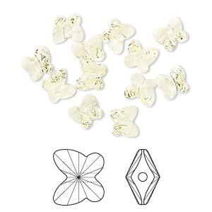 bead, swarovski crystals, jonquil, 6x5mm faceted butterfly (5754). sold per pkg of 360.