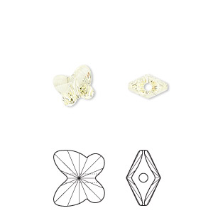 bead, swarovski crystals, jonquil, 8x7mm faceted butterfly (5754). sold per pkg of 288 (2 gross).