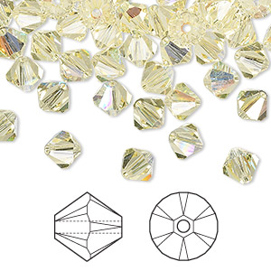 bead, swarovski crystals, jonquil ab, 6mm xilion bicone (5328). sold per pkg of 360.