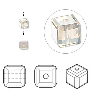 bead, swarovski crystals, light grey opal, 4x4mm faceted cube (5601). sold per pkg of 12.