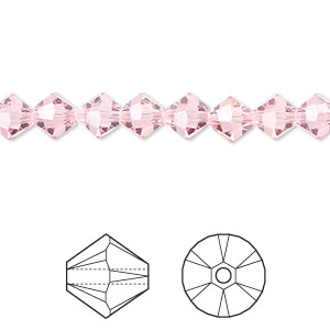 bead, swarovski crystals, light rose,  6mm xilion bicone (5328). sold per pkg of 24.