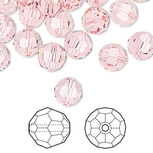 bead, swarovski crystals, light rose, 8mm faceted round (5000). sold per pkg of 288 (2 gross).