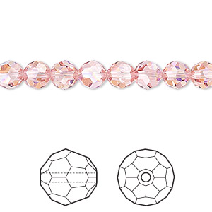 bead, swarovski crystals, light rose ab, 6mm faceted round (5000). sold per pkg of 360.