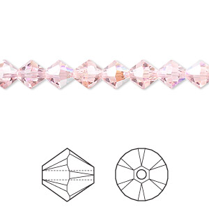 bead, swarovski crystals, light rose ab, 6mm xilion bicone (5328). sold per pkg of 144 (1 gross).