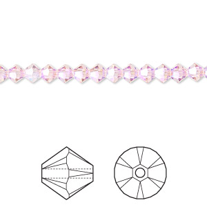 bead, swarovski crystals, light rose, ab2x, 4mm xilion bicone (5328). sold per pkg of 1,440 (10 gross).
