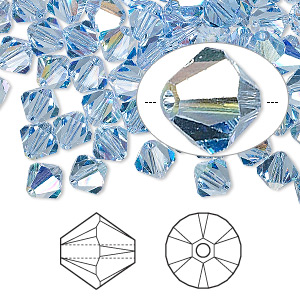 bead, swarovski crystals, light sapphire ab, 6mm xilion bicone (5328). sold per pkg of 360.