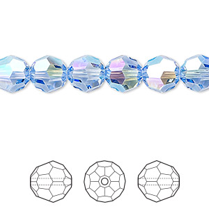 bead, swarovski crystals, light sapphire shimmer, 8mm faceted round (5000). sold per pkg of 288 (2 gross).
