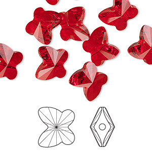 bead, swarovski crystals, light siam, 10x9mm faceted butterfly (5754). sold per pkg of 288 (2 gross).