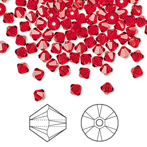 bead, swarovski crystals, light siam, 4mm xilion bicone (5328). sold per pkg of 1,440 (10 gross).