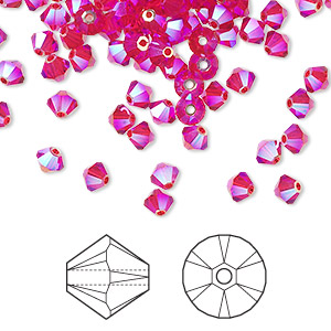 bead, swarovski crystals, light siam ab2x, 4mm xilion bicone (5328). sold per pkg of 144 (1 gross).