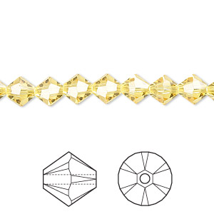 bead, swarovski crystals, light topaz, 6mm xilion bicone (5328). sold per pkg of 24.