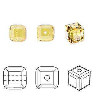 bead, swarovski crystals, light topaz, 8x8mm faceted cube (5601). sold per pkg of 6.