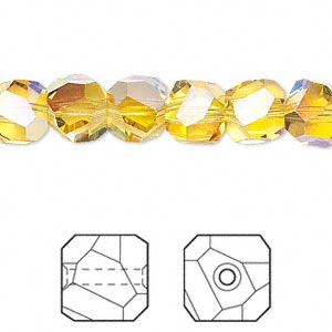 bead, swarovski crystals, light topaz ab, 8x8mm faceted graphic cube (5603). sold per pkg of 6.