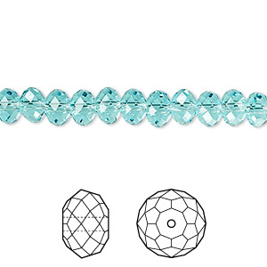 bead, swarovski crystals, light turquoise, 6x4mm faceted rondelle (5040). sold per pkg of 360.