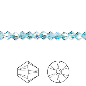 bead, swarovski crystals, light turquoise ab, 4mm xilion bicone (5328). sold per pkg of 1,440 (10 gross).