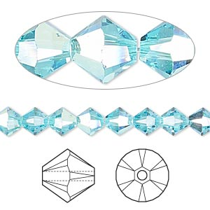 bead, swarovski crystals, light turquoise ab, 6mm xilion bicone (5328). sold per pkg of 360.