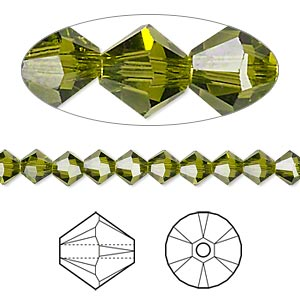 bead, swarovski crystals, olivine, 5mm xilion bicone (5328). sold per pkg of 24.