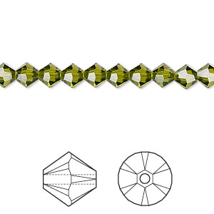 bead, swarovski crystals, olivine, 5mm xilion bicone (5328). sold per pkg of 720 (5 gross).