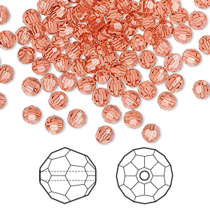 bead, swarovski crystals, padparadscha, 4mm faceted round (5000). sold per pkg of 144 (1 gross).