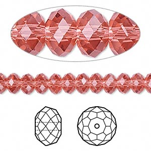 bead, swarovski crystals, padparadscha, 6x4mm faceted rondelle (5040). sold per pkg of 12.