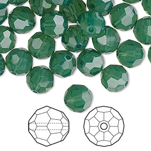 bead, swarovski crystals, palace green opal, 8mm faceted round (5000). sold per pkg of 288 (2 gross).