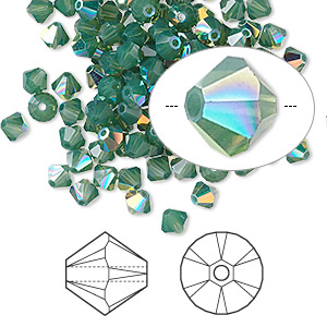 bead, swarovski crystals, palace green opal ab, 4mm xilion bicone (5328). sold per pkg of 1,440 (10 gross).