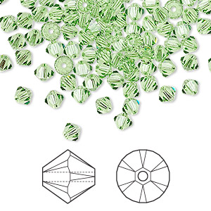 bead, swarovski crystals, peridot, 4mm xilion bicone (5328). sold per pkg of 1,440 (10 gross).