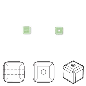 bead, swarovski crystals, peridot, 4x4mm faceted cube (5601). sold per pkg of 288 (2 gross).